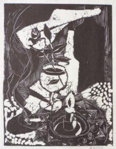 Stillleben mit Rose, 1962, Linolschnitt, WV-Nr. 1887