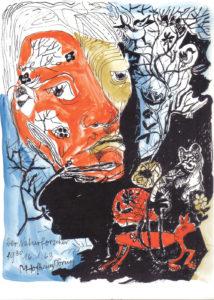 Der Naturforscher, 1978, Zeichnung unikat, WV-Nr. 5130