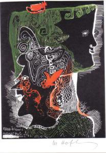 Neue Frisur - neuer Hut, 1963, Zeichnung Unikat, WV-Nr- 5132