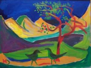 8553 Landschaft mit Vögeln