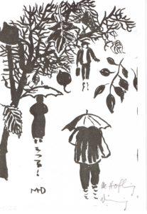 Pinselzeichnung Repro Regenspaziergang